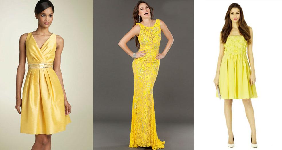 платья желтого цвета для встречи НГ 2018