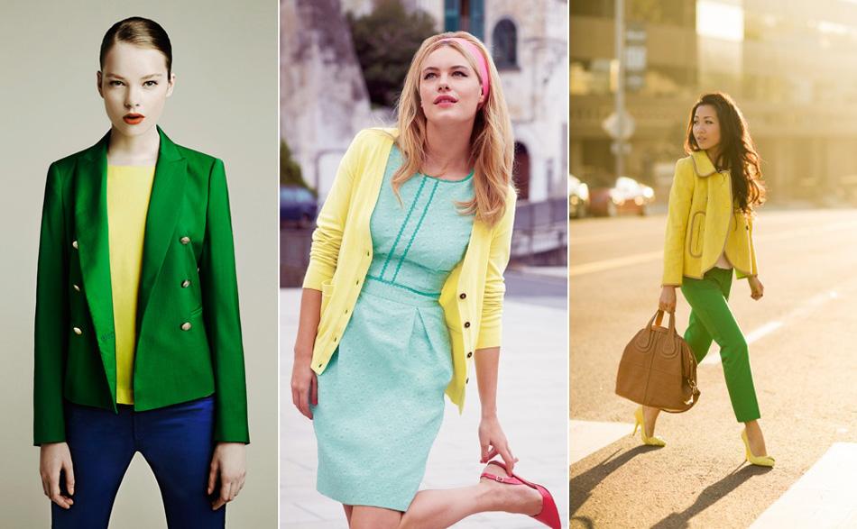 сочетание желтого с зеленым в одежде