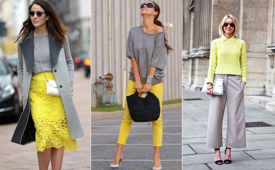 сочетание желтого цвета с серым