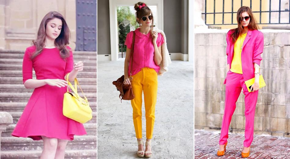 желтый и розовые цвета в одежде