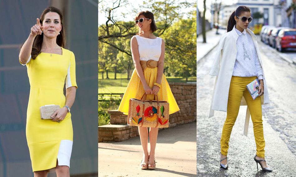 сочетание желтого и белого цветов