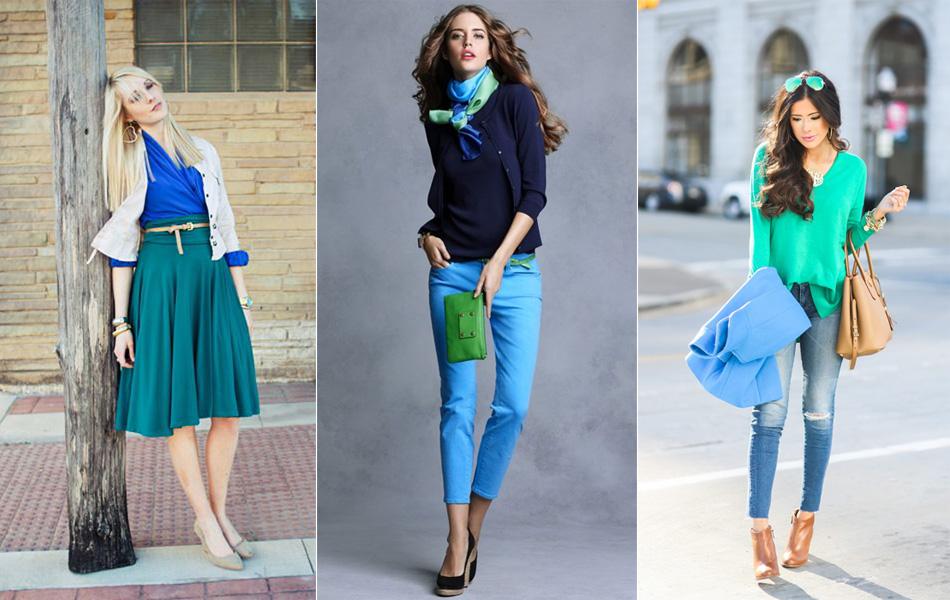 сочетание синего с зеленым в одежде