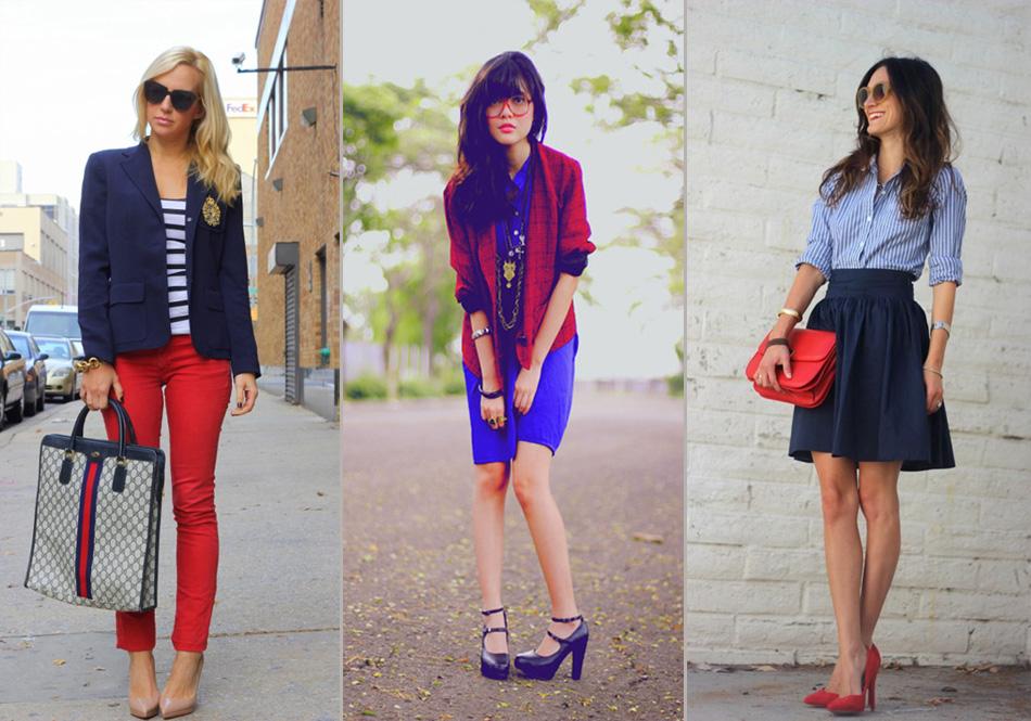 синий и красный цвета в одежде