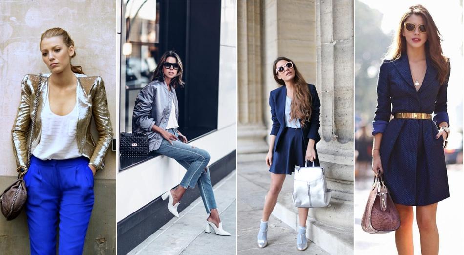 синий с золотистым или серебристым в одежде