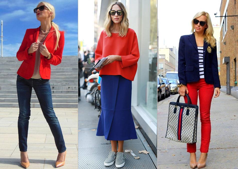 сочетание красного с синим