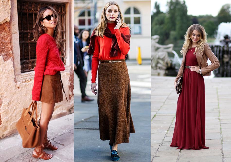 комбинация красного с коричневым цветом