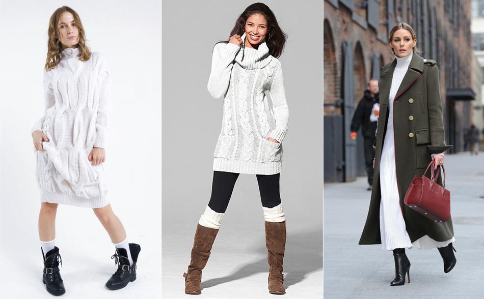 с чем носить белое вязанное платье
