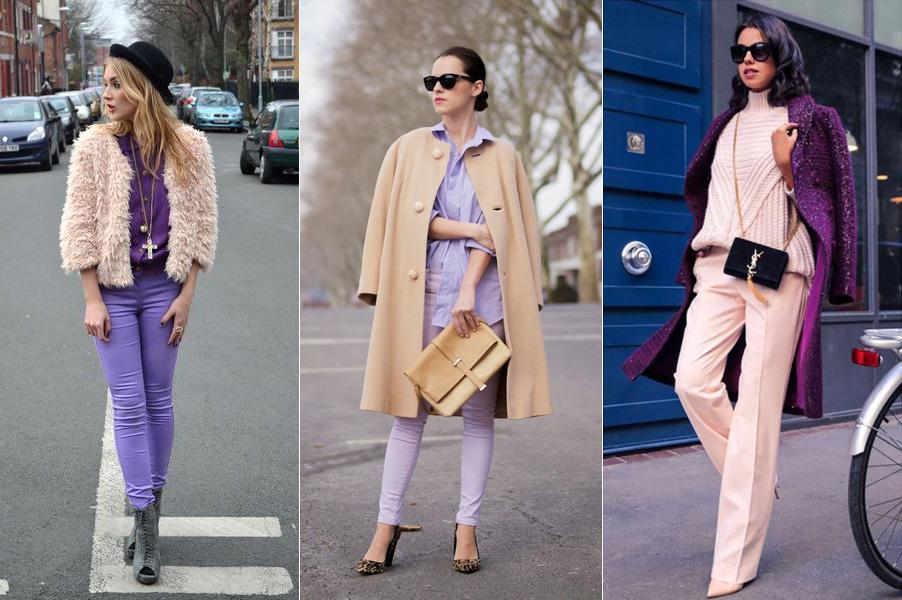 фиолетовый и кремовый в одежде