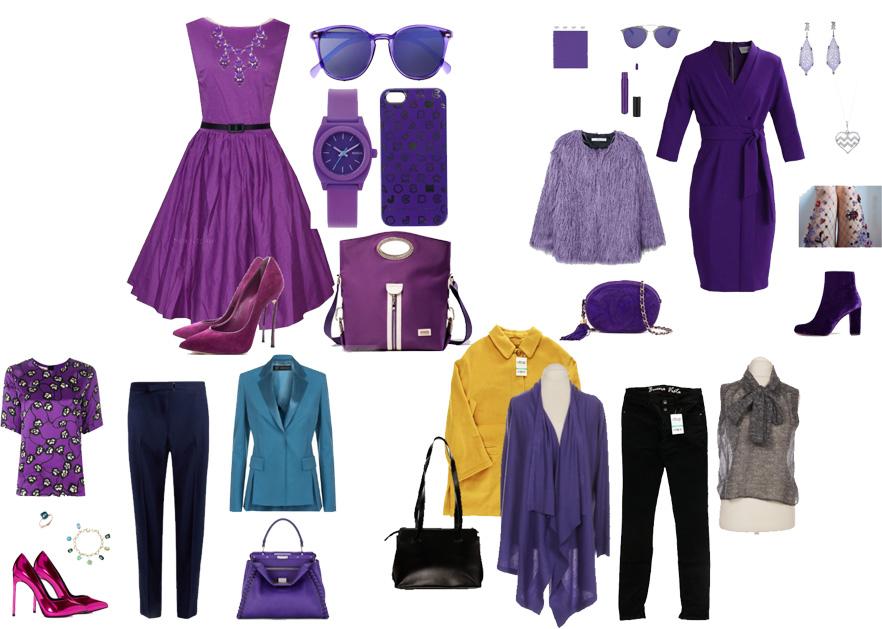сочетания фиолетового в одежде