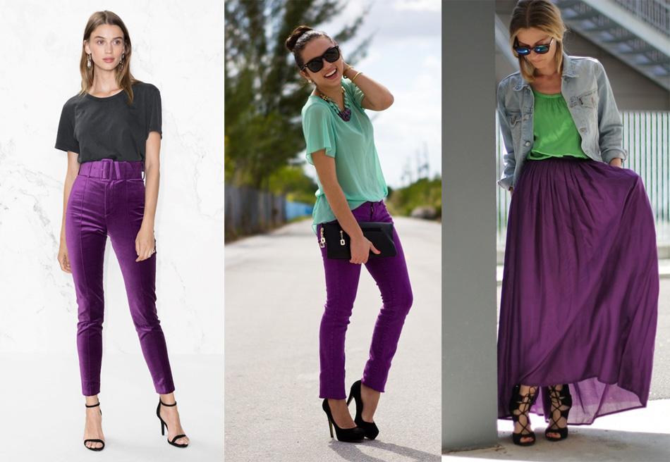 сочетание фиолетового с зеленым в одежде