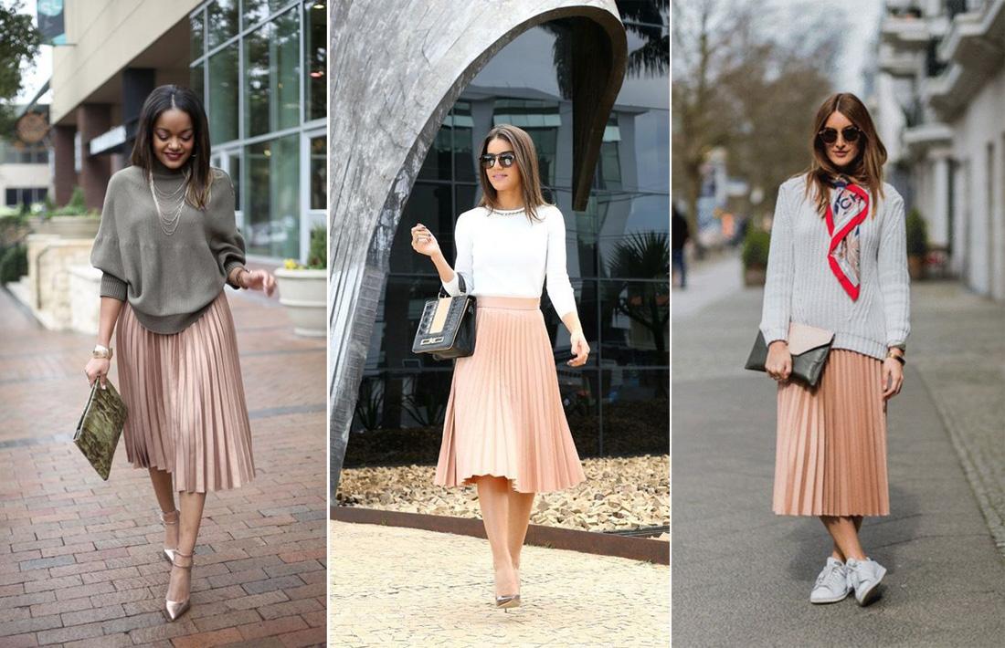 пастельные оттенки плиссированной юбки