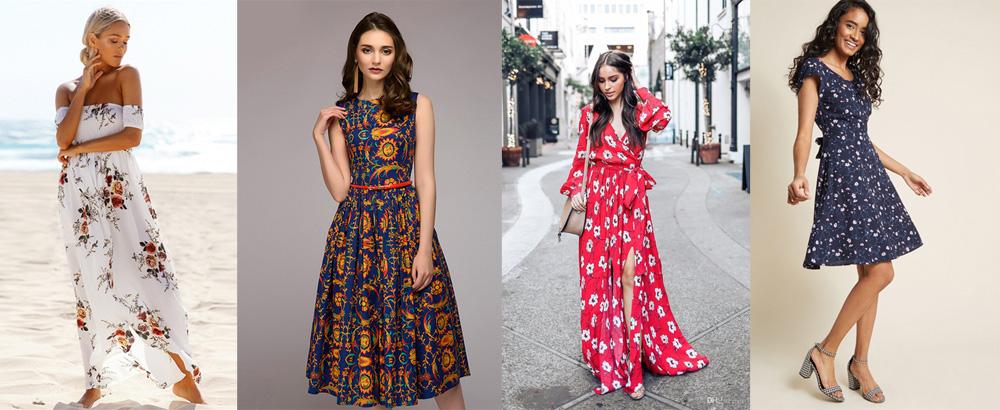 платья с цветочным принтом фото