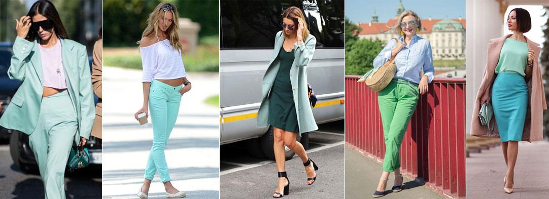 зеленый цвет с пастельными оттенками в одежде