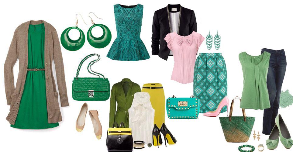 модные образы сочетания зеленого цвета в одежде