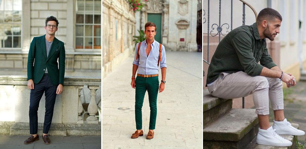 зеленый в одежде мужчин