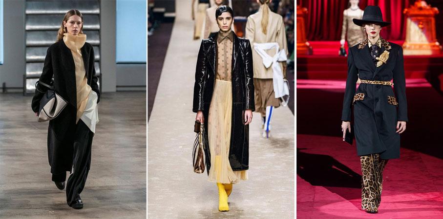fashion look с черным пальто